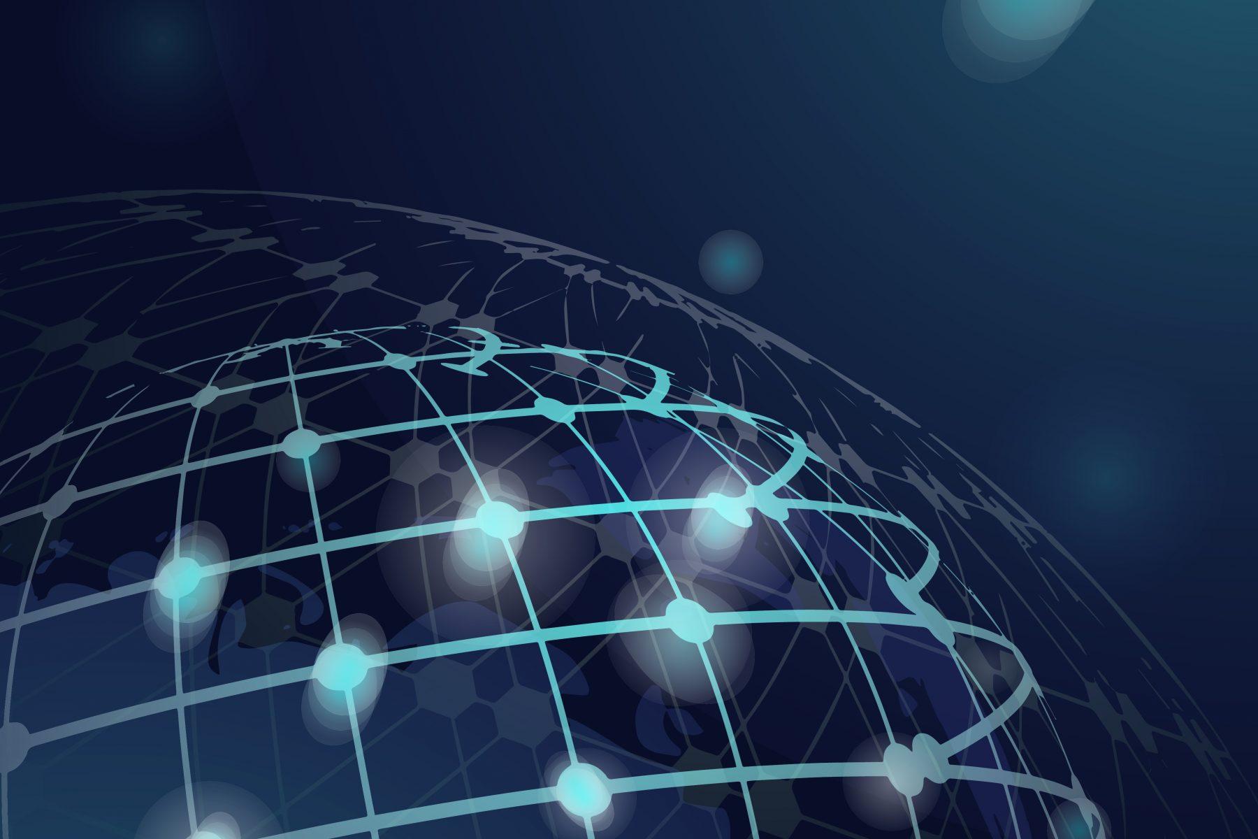 Blue globe futuristic technology background vector